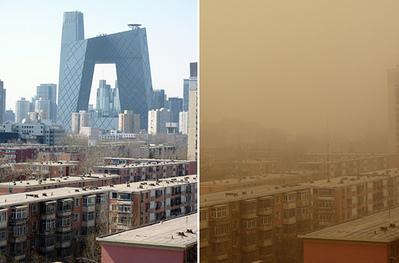 此圖為北京同一地點不同時間拍攝的照片,左邊是晴天,右邊是陰霾天氣。(網絡圖片)
