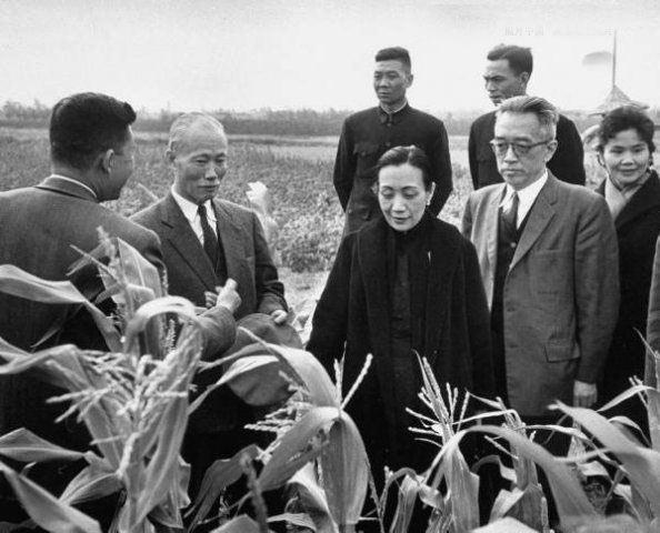 ●國民黨遷台後,亦於50 年代實行和平土改,省主席陳誠(左2)是領導人,和學者胡適(右2)等人下鄉訪察農情。