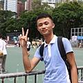 廖先生第一次參加七一遊行,希望為香港民主出一份力。(楊安娜/大紀元)