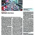 ■今期《經濟學人》以「為他們的未來而戰」(Fighting for their future)為題,報道7.1遊行及佔中行動。