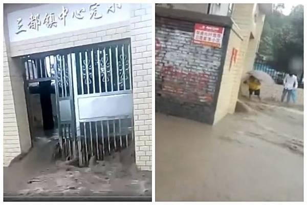 廣州大暴雨 漏電造成多人身亡.圖為冒雨前來接孩子的家長。(影片截圖)2018-6-8