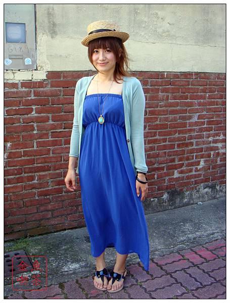 淘寶 飾女巫 平口長洋裝 寶藍