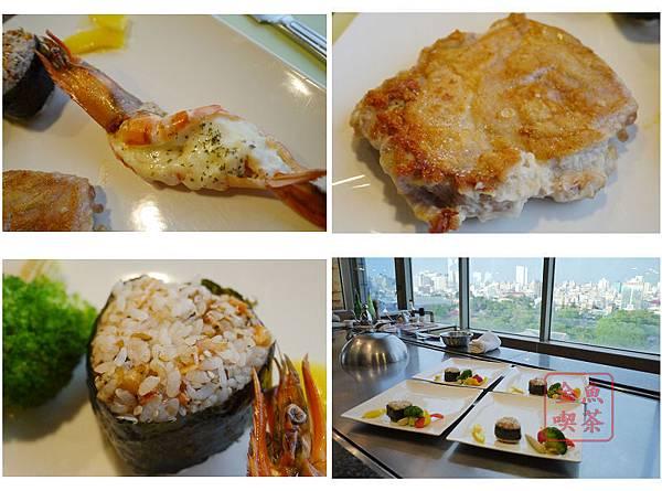 鐵板雞腿排&大蝦+櫻花蝦飯糰