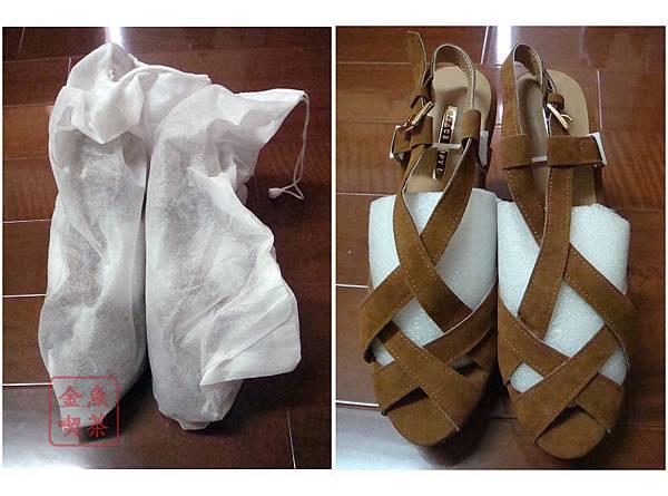 Grace gift交叉縷空防水台楔型涼鞋 棕 有防塵袋包著