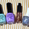撞色亮片半甲彩繪 使用顏色NPEAL P0F、P03,INTEGRATE OR391,大顆亮片指甲油