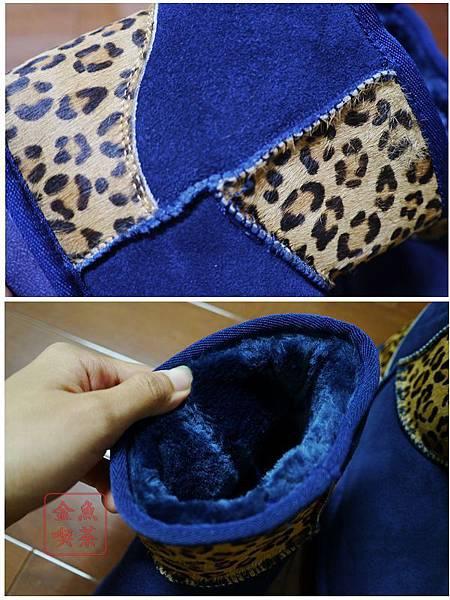 Wink 異材質拼接豹紋短筒雪靴。時髦寶藍