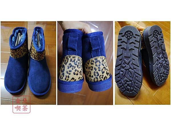 Wink 異材質拼接豹紋短筒雪靴。時髦寶藍 細部