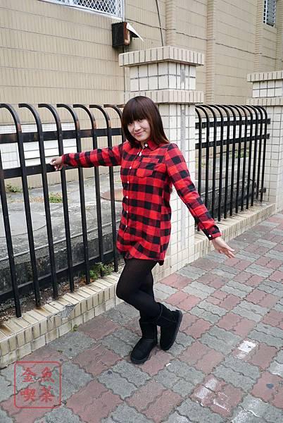 LULUS 法蘭絨長版格紋襯衫(紅黑) 實穿