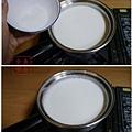 牛奶加入砂糖煮至砂糖溶解