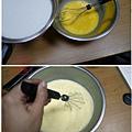 雞蛋打散持續攪拌邊倒入牛奶成布丁液