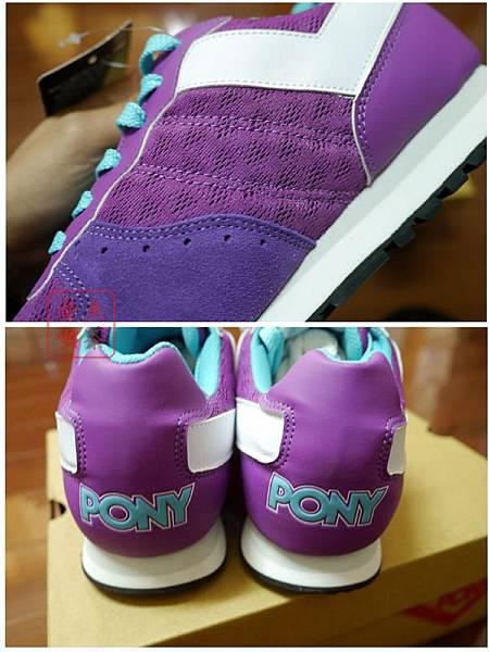 PONY SOLA-V玩味異素材復古配色慢跑鞋-紫 側面及後方