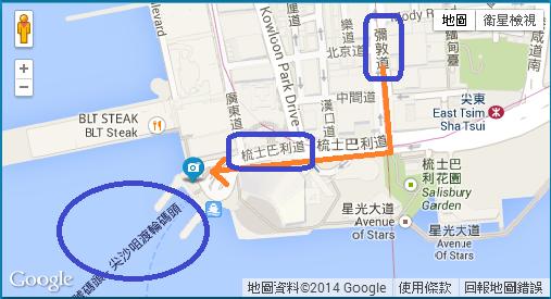 彌敦道往碼頭地圖