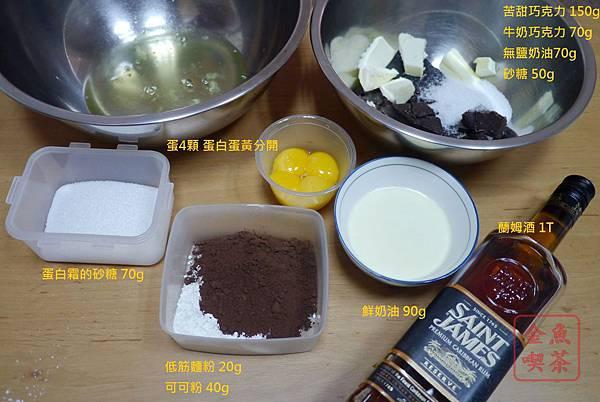 經典巧克力蛋糕 材料