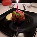 餐廳贈送的濕潤鬆軟馬芬蛋糕