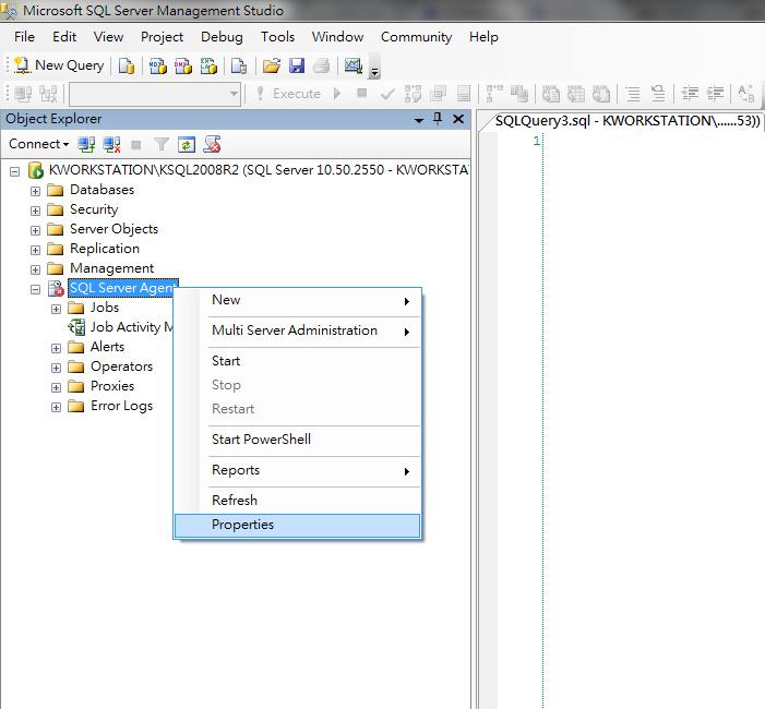 SQLServer Agent-properties