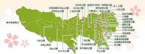 東京櫻花地點