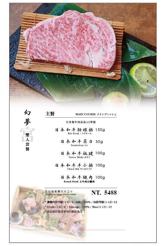 台中燒肉推薦,締藏和牛燒肉菜單