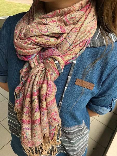喀什米爾與真絲混紡圍巾