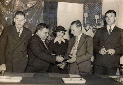 NYC Mayor LaGuardia, Mrs. Braddock  Joe Gould, James J. Braddock.jpg