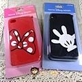 迪士尼樂園限定 IPhone4 手機矽膠套 米奇黑/米妮紅