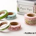 美國紙膠帶 cavallini&co 鐵盒5捲入 FLORA FAUNA動植物款