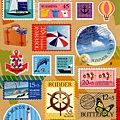 MW夏日貼紙 MW74553海邊郵票 $90