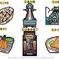 日本當地限定特色造型明信片 大阪 共六彈 一張$85