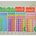 $150 日本製 標示註記 半透明手帳貼紙 藍綠系方格 / 彩系方格 / 彩系圓圈 / 橘粉系圓圈