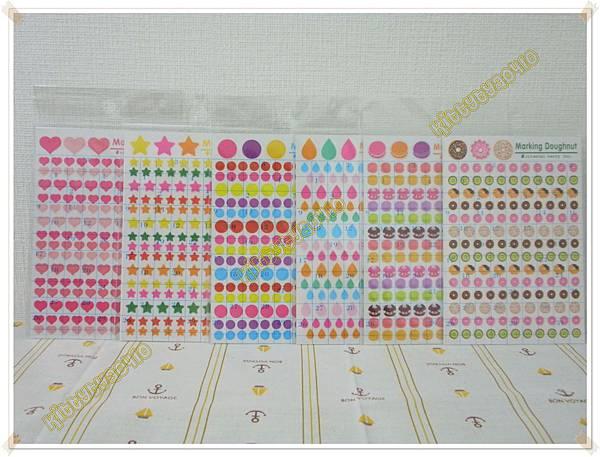 $70 日本製oriental手帳貼紙  A愛心 / B星星  / C水滴 / D馬卡龍 / E甜甜圈