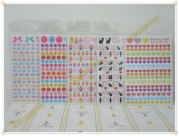 $70 日本製oriental手帳貼紙 F蝴蝶結 / G花朵 / H俄羅斯娃娃 / I黑貓 / J彩色愛心