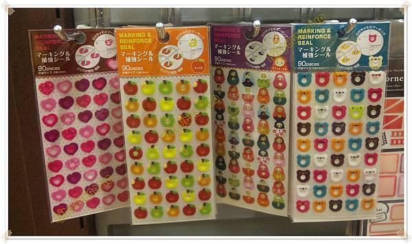$100 日本 分頁活頁紙洞孔補強貼紙 手帳可用註記貼紙 愛心 / 蘋果 / 俄羅斯娃娃