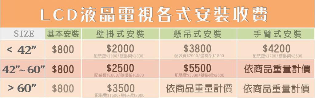 LCD各式安裝收費