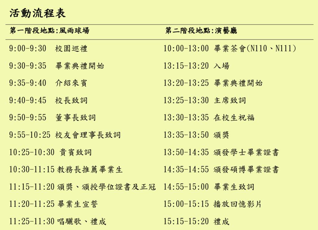 2015 100級畢業典禮流程