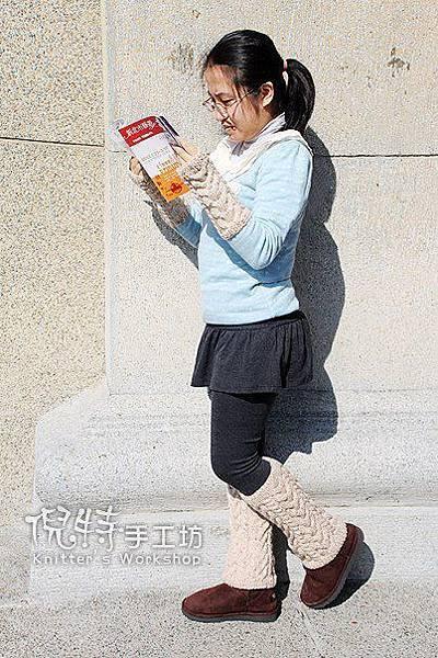 麻花露指手套+麻花襪套