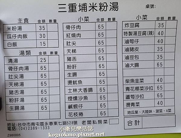 台中南屯早午餐美食.三重埔米粉湯菜單價位地址