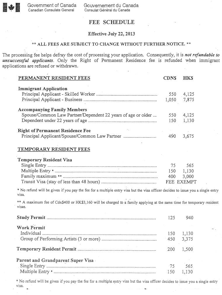 加拿大簽證費用 Jul. 2013