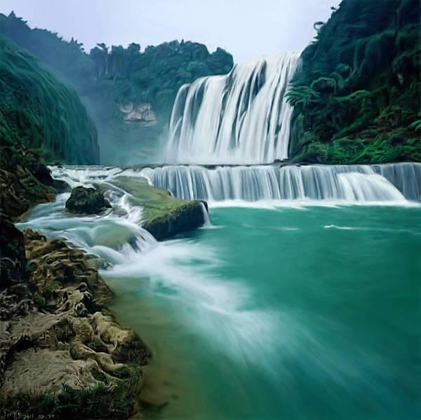 照片臨摹手繪-風景瀑布