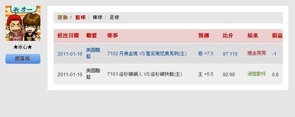2011.01.16 NBA 讓分盤 賽事結果.JPG