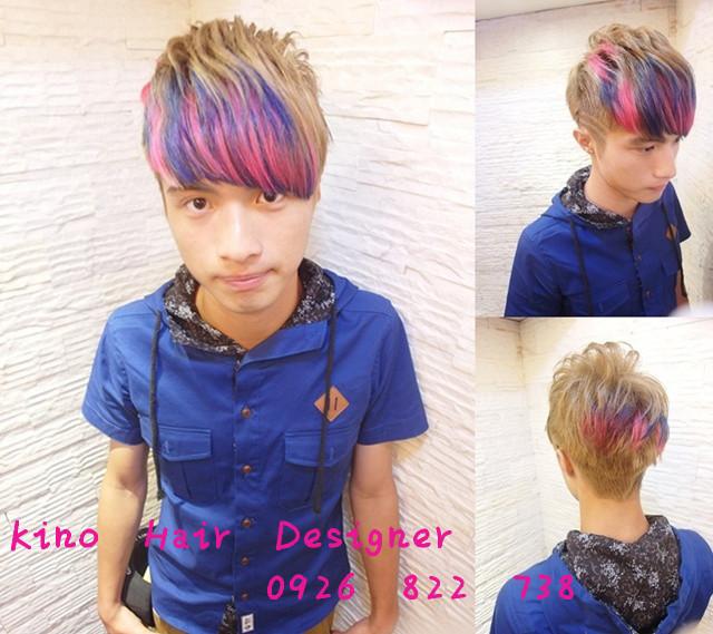 男-粉紅 寶藍雙色染