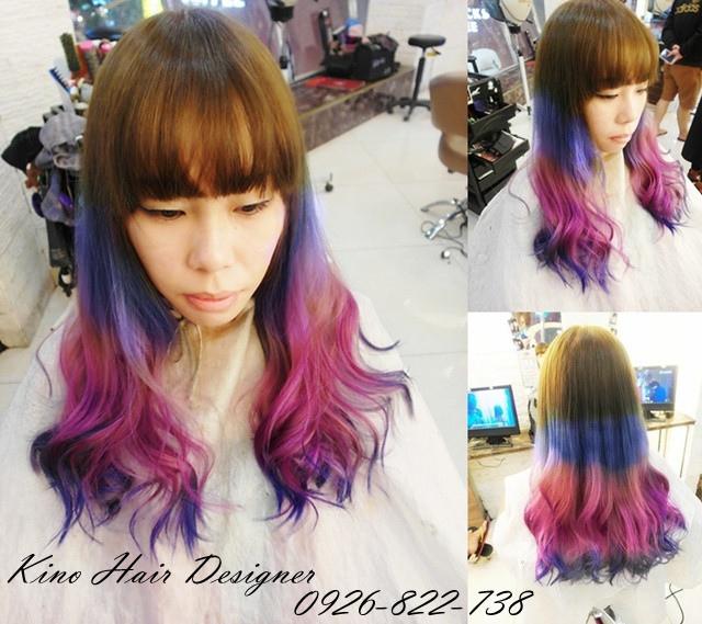 漸層寶藍紫色深藍