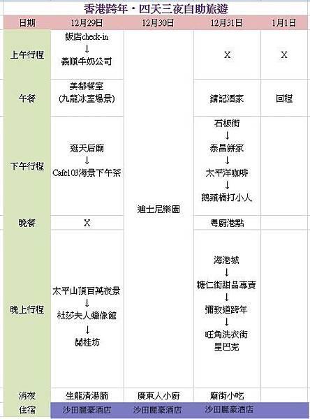 香港跨年行程表