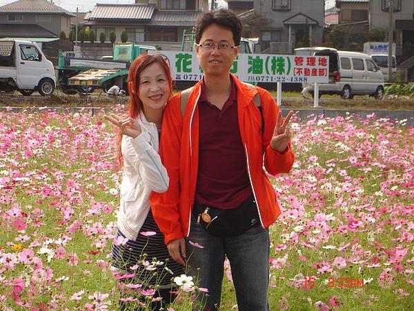 龜岡站附近的花海-請日本人幫我們拍的