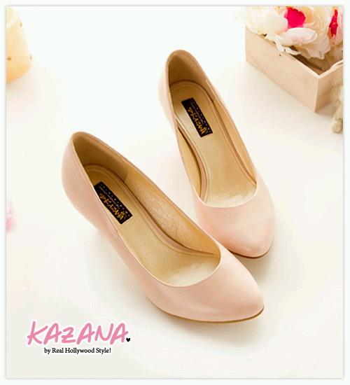 KAZANA絕美型誕生~氣質素面微尖頭椎跟鞋 粉01.jpg