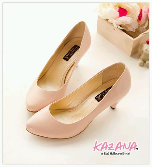 KAZANA絕美型誕生~氣質素面微尖頭椎跟鞋 粉02.jpg