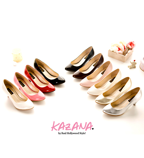 KAZANA絕美型誕生~氣質素面微尖頭椎跟鞋 粉04.jpg