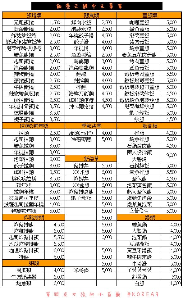 飯捲天國自製中文菜單