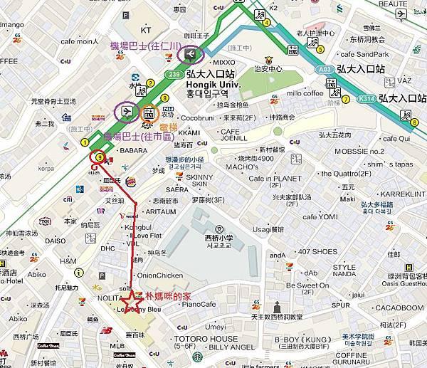 弘大機場巴士意識圖