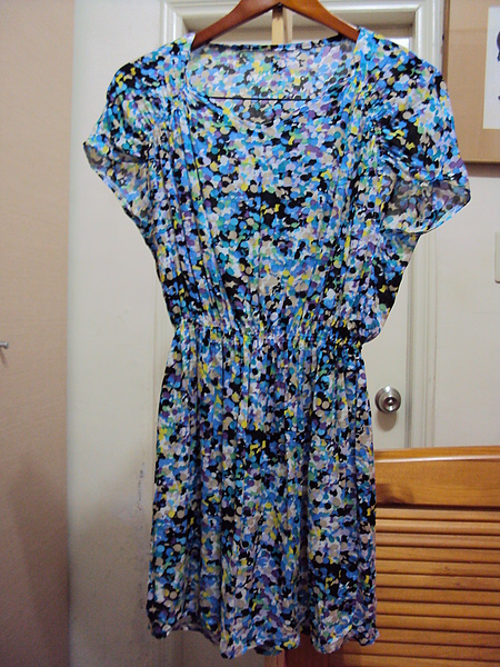 韓國棉碎花洋裝/藍色~890元