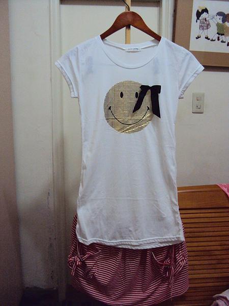 微笑韓國棉上衣+海軍風群1100