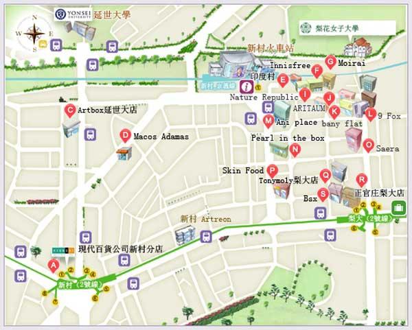韓國自由行-梨花女子大學商圈MAP